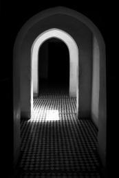 Archway though corridor