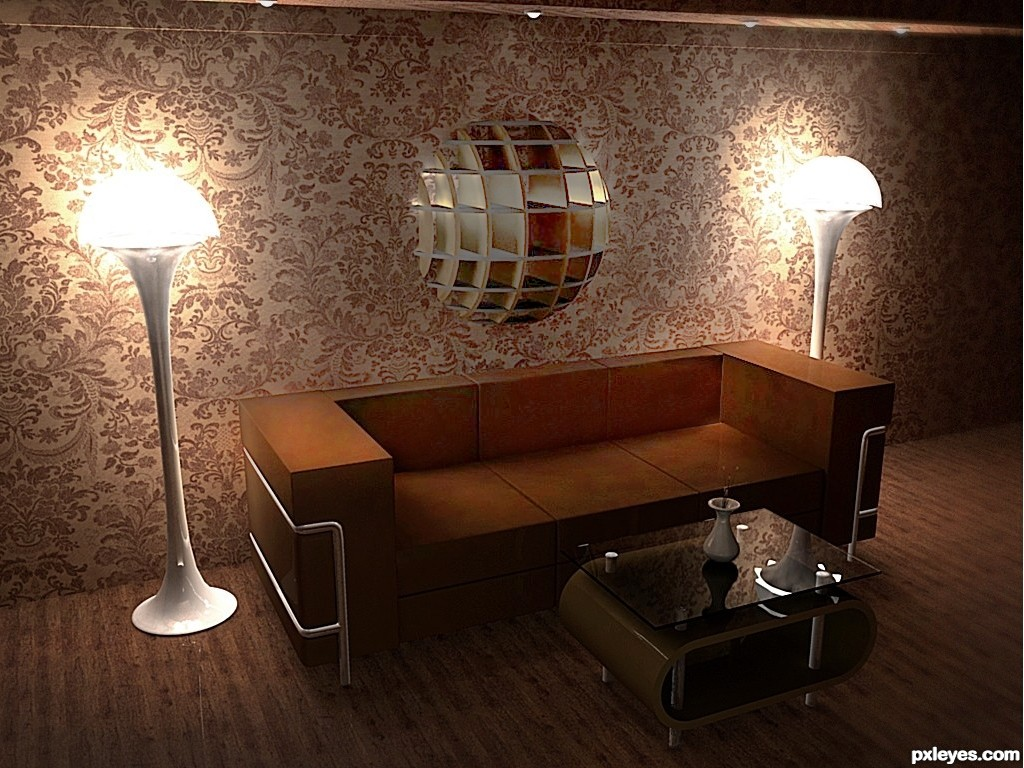 Art deco interior picture by mircea for art deco 3d for Art deco home interiors