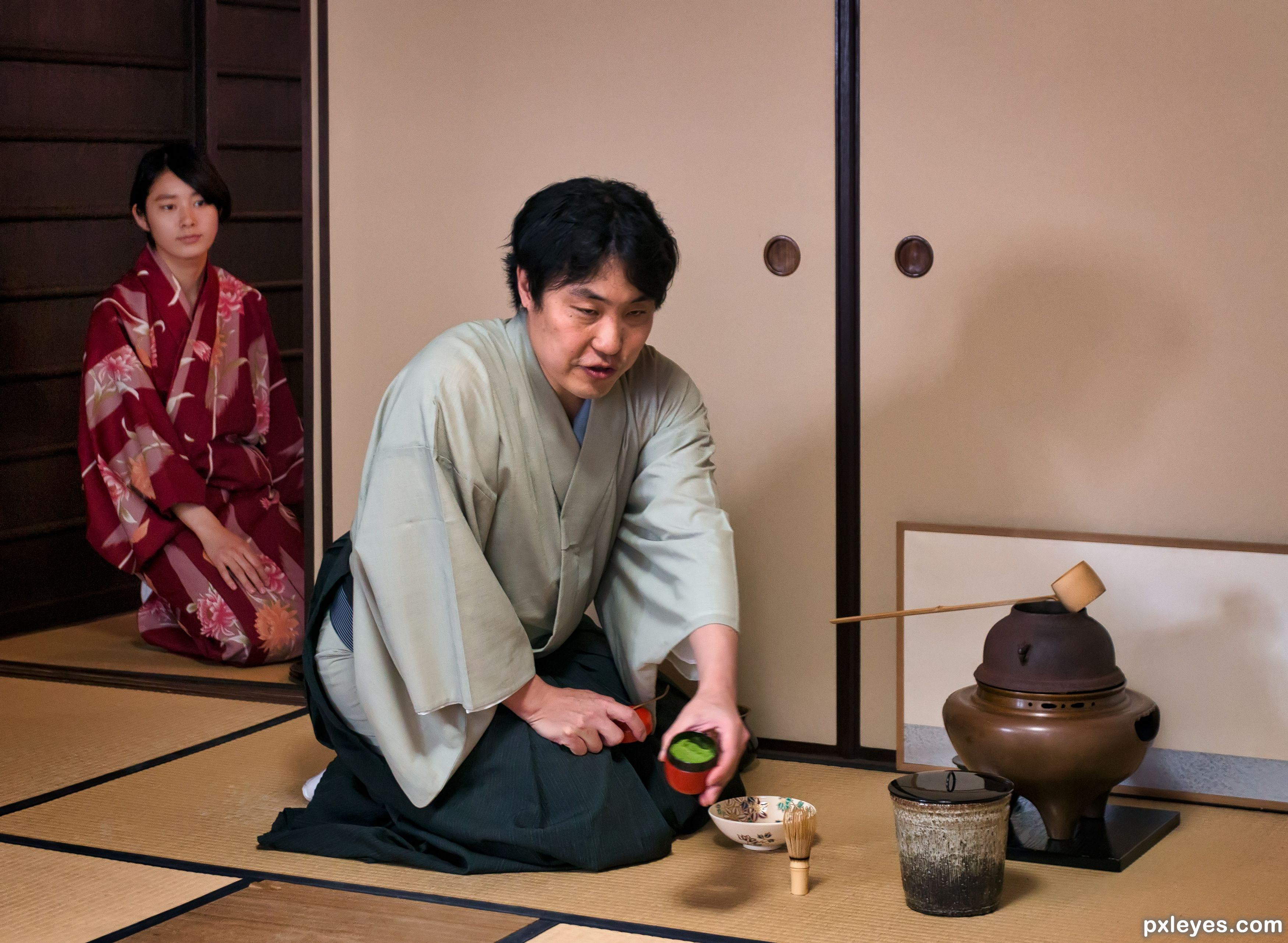 """an overview of the traditional japanese tea ceremony Overview you will be able to experience a traditional tea ceremony and writing japanese calligraphy """"shodo"""" tea used in tea ceremonies is powdered green tea called matcha."""