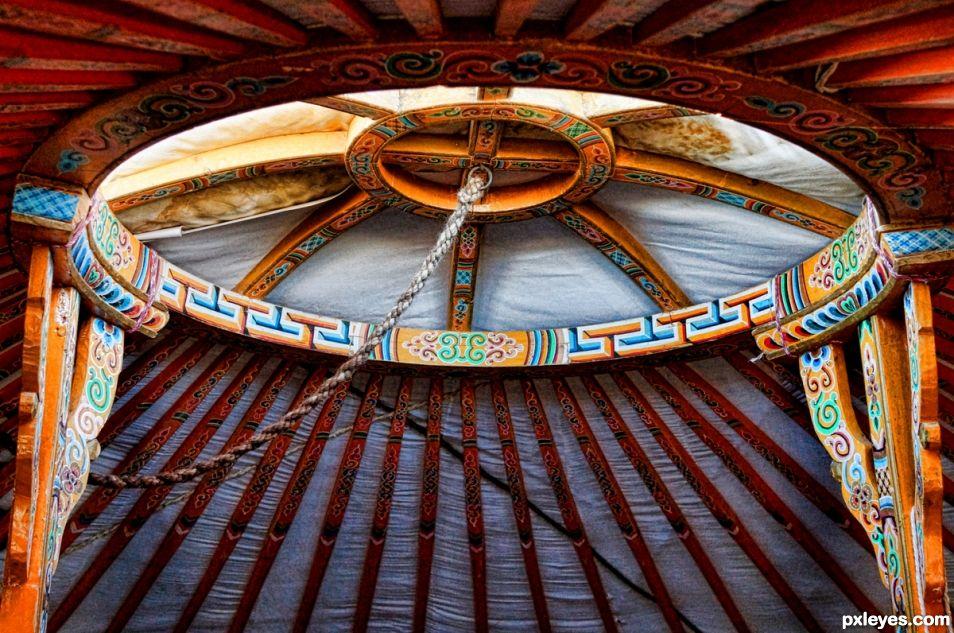 Roof opening of Yurt