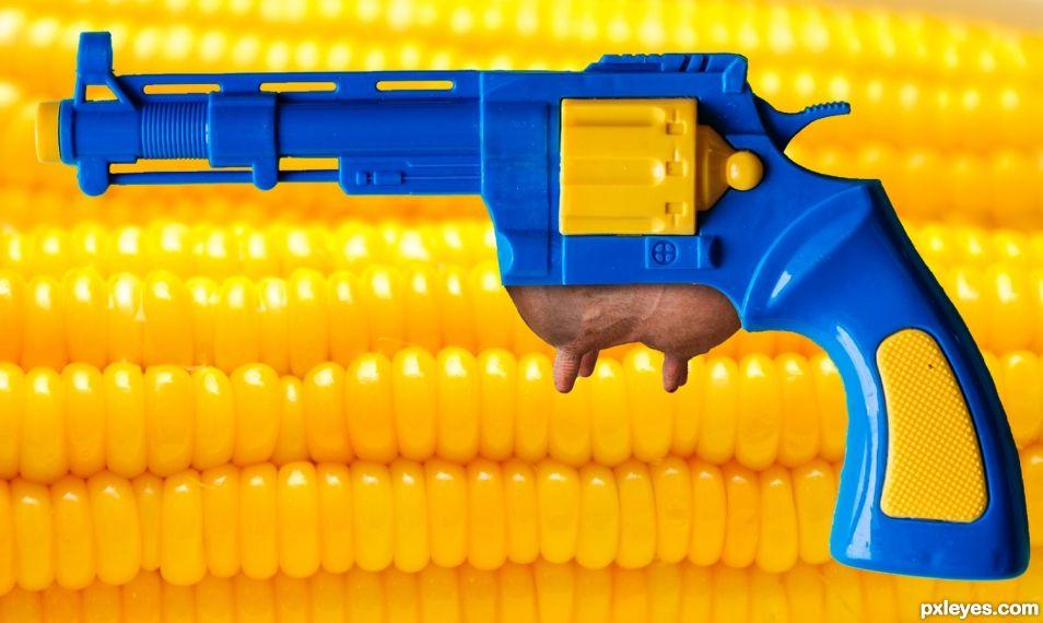 Udder Gun with Corn on the Cob