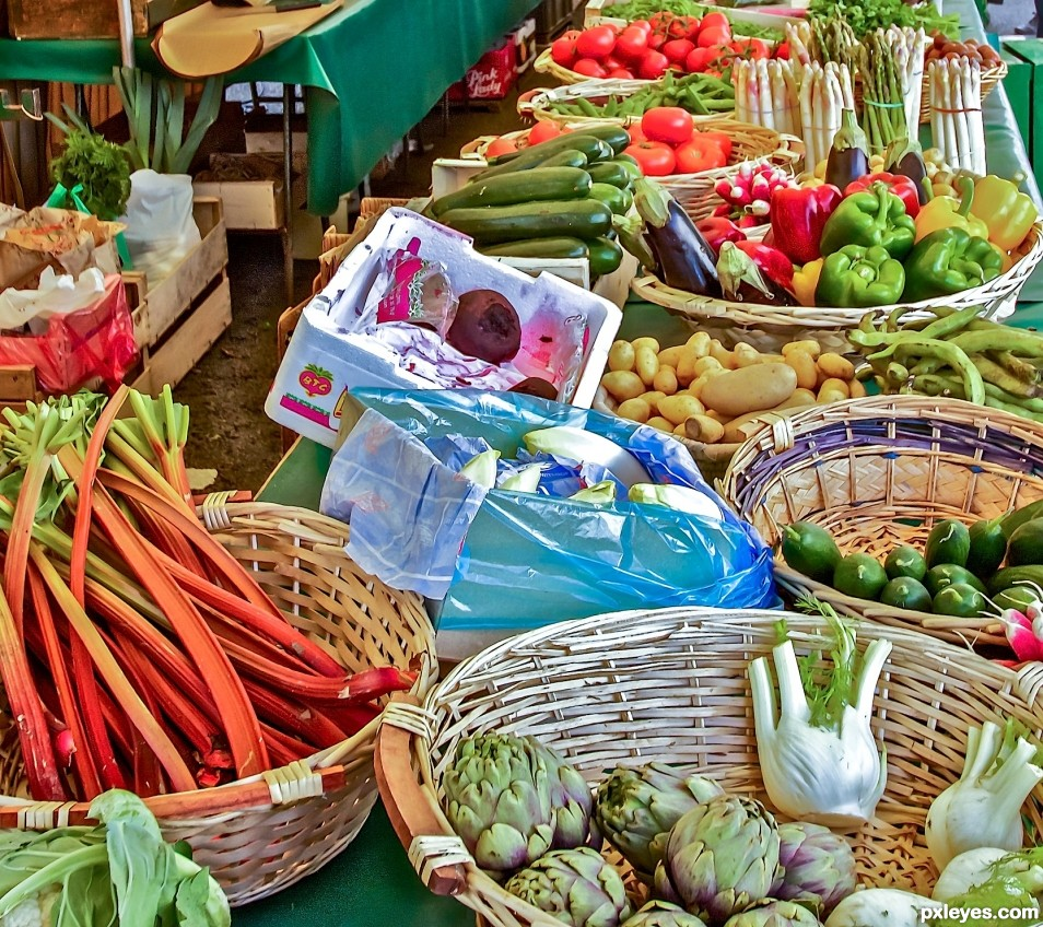 baskets in a open air market