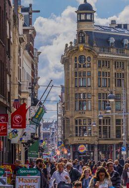 Big city shopping street