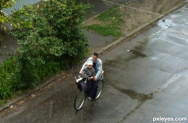 biking under rain