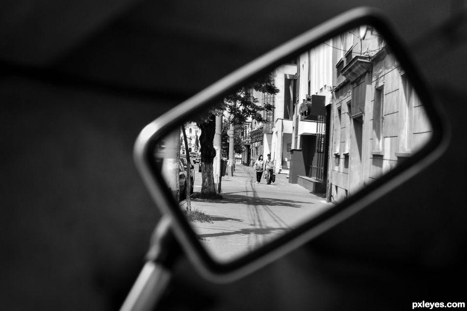 Inside a mirror