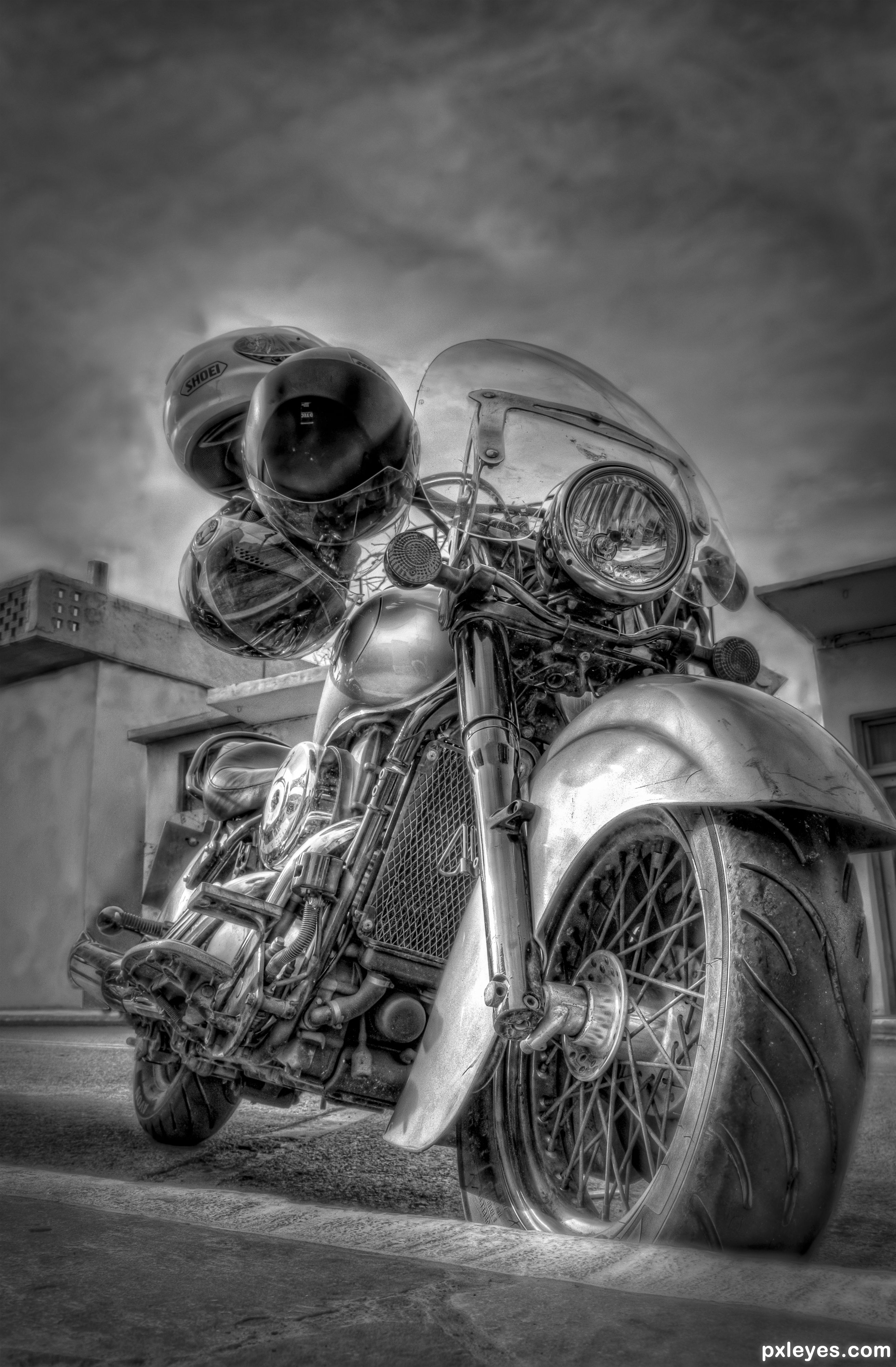 High dynamic motorcycle picture by menelaosp for black and white