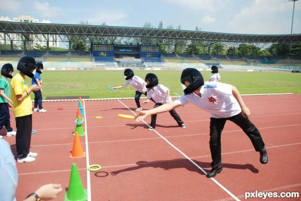 Black helmets sports day
