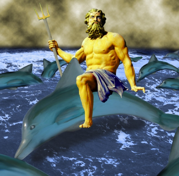 picture of the dolphin king and poseidon greek