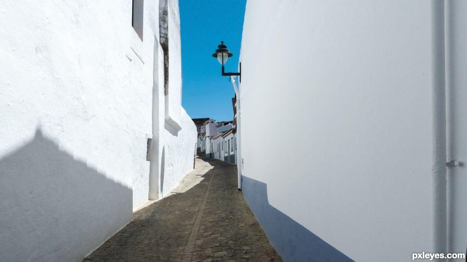White village under sky of blue