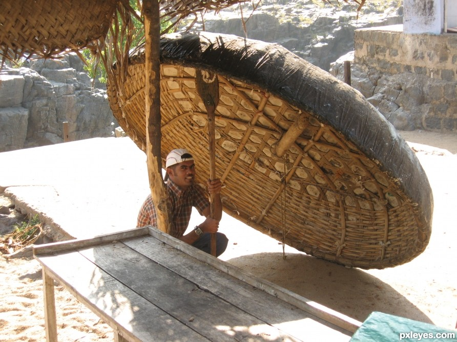 Drying up Teppa (Indian Coracle)