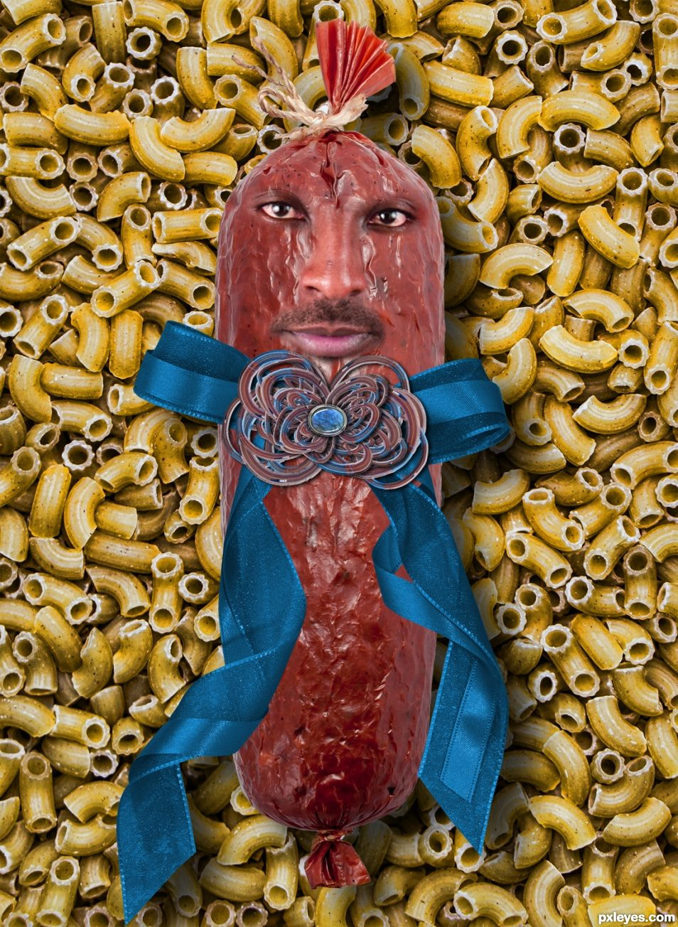 Mr. Sausage with Road Ribbon on Pasta