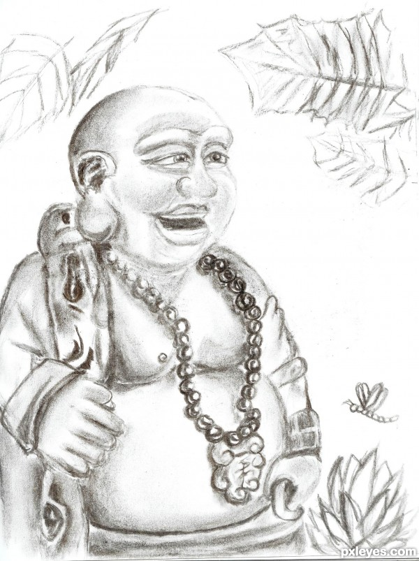 laughing buddha drawing - photo #13