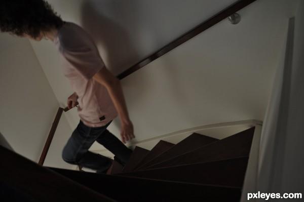 Im running down the stairs