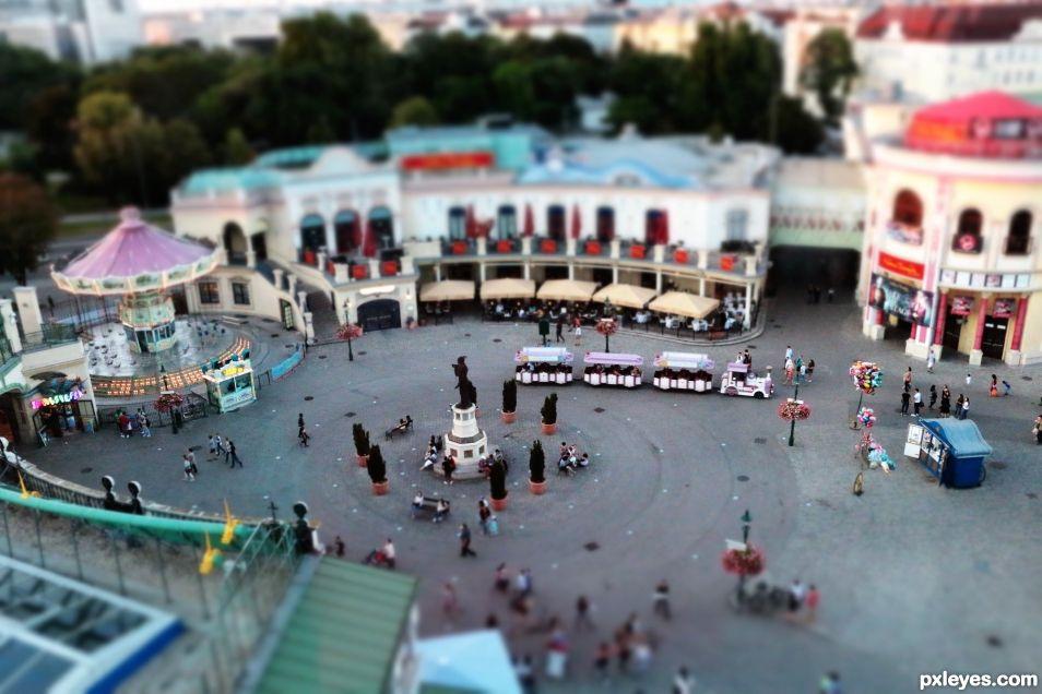 tilt shift amusement park