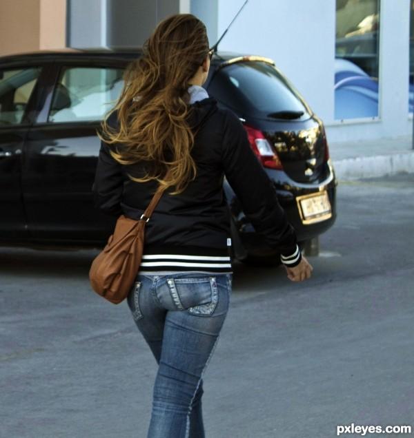 Lone girl walking