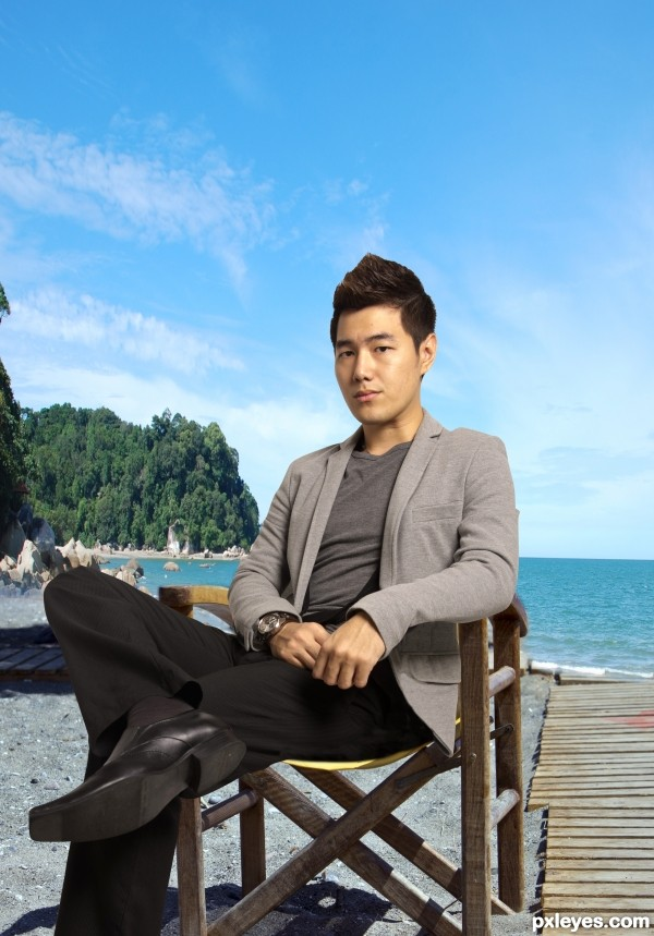 a man on beach chair