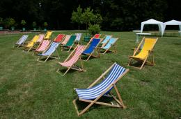 deckchairs in a park