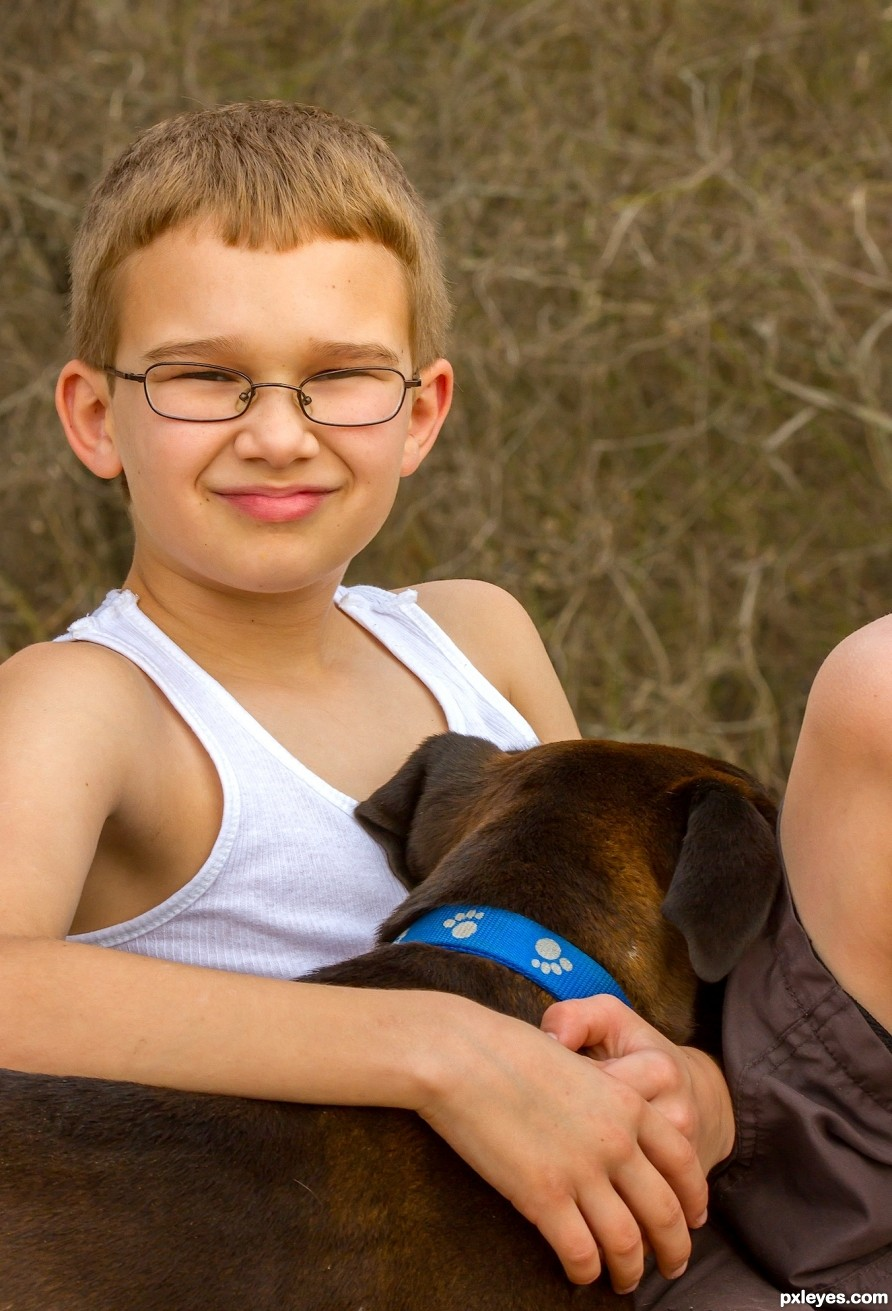 young boy and his dog photography picture