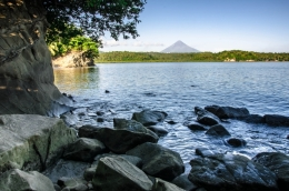 Rocky shore...Mayon at far