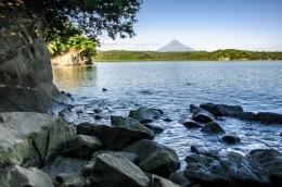 Rocky shore...Mayon at far