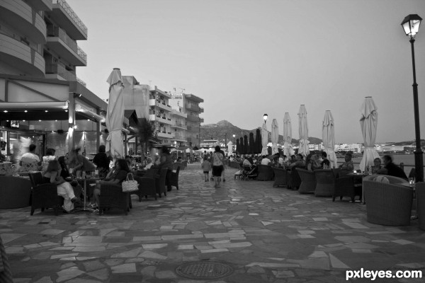 Outdoors cafes by the sea