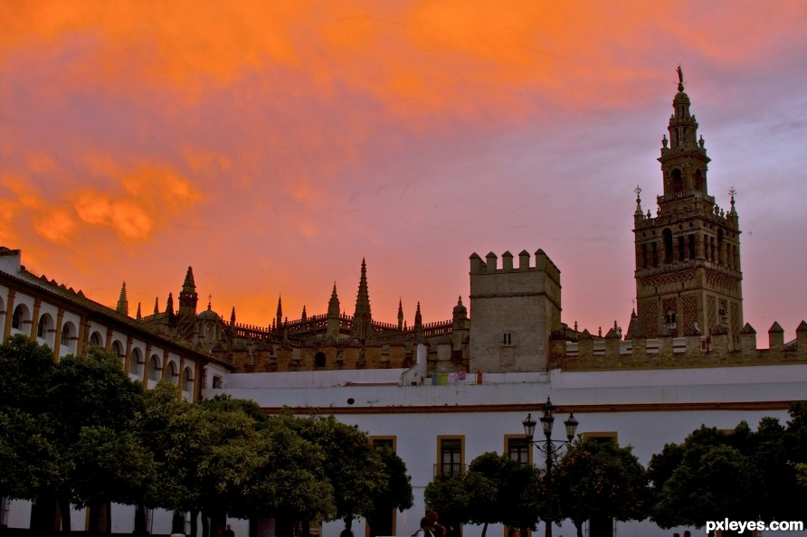 Seville Spain Cathedral  at sunset