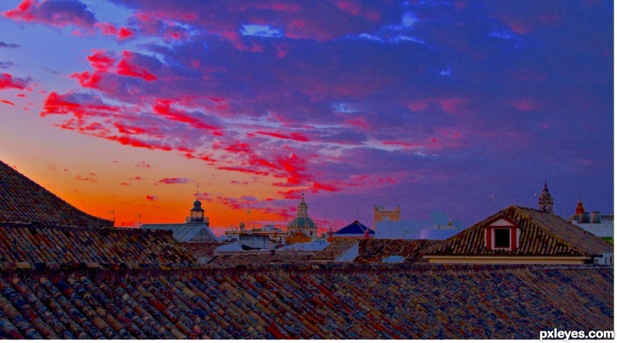 Sunset across the roof tops