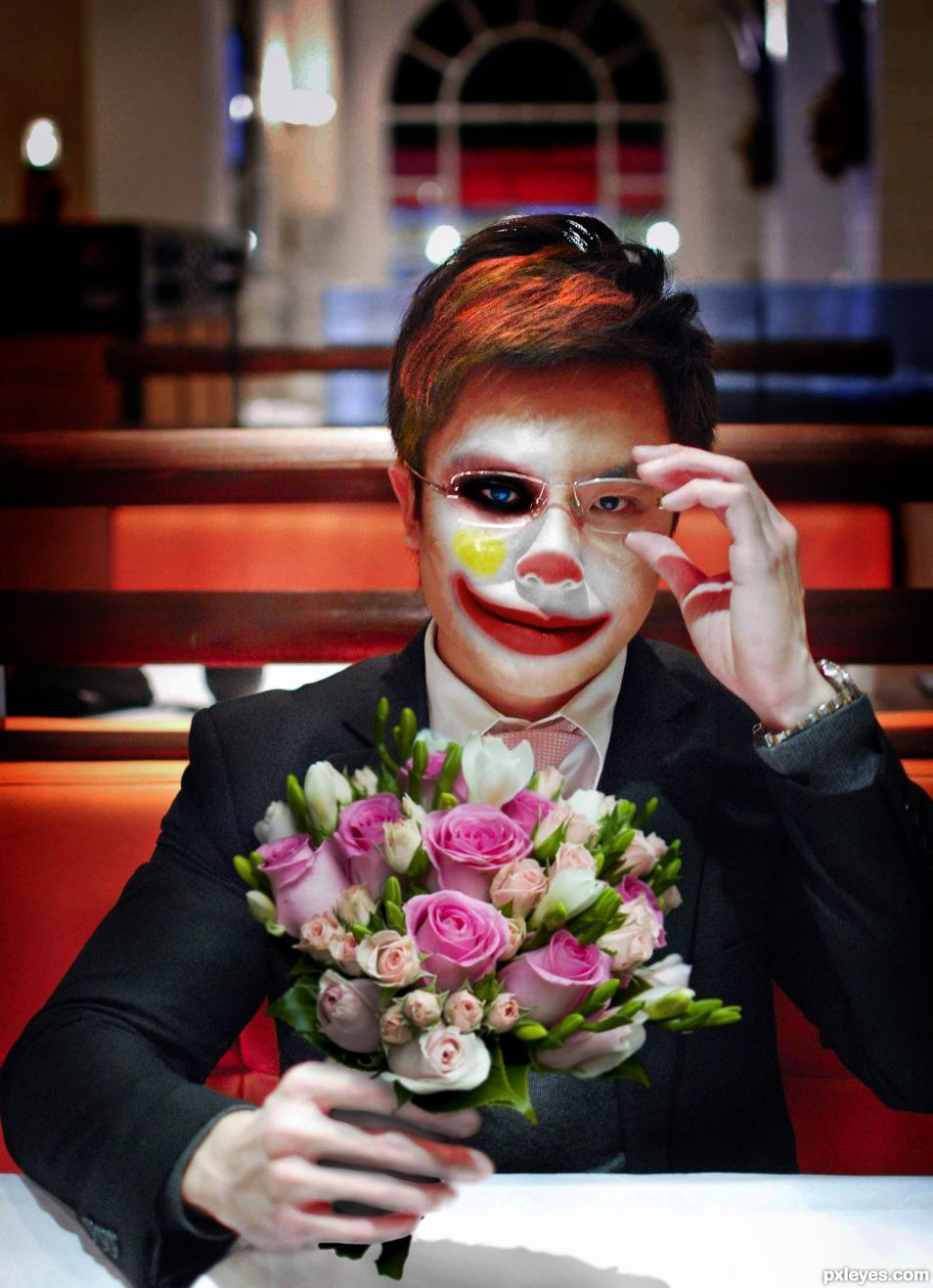 Whats wrong, honey? Take the flowers.