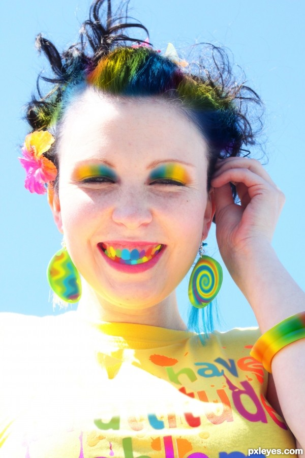 colorful girl smiling