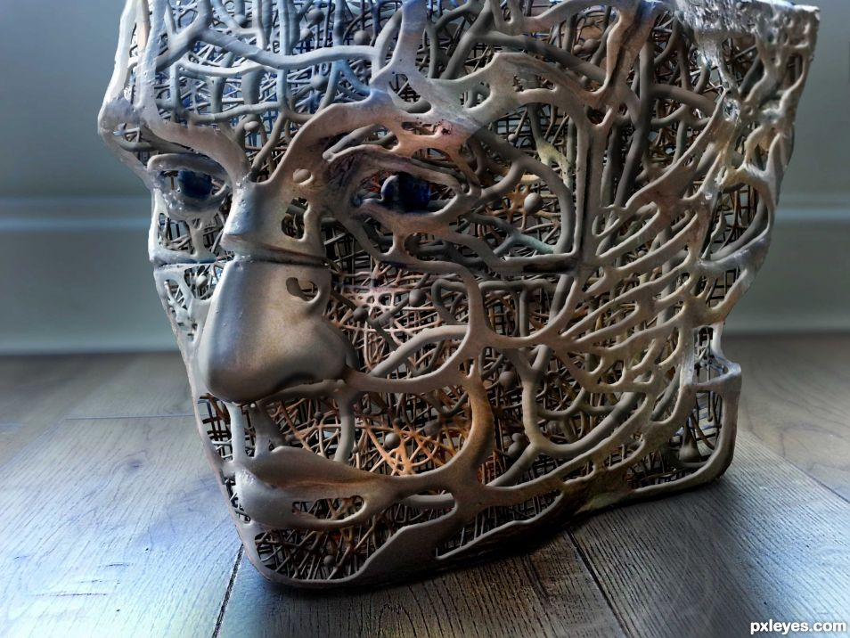 Metal sculpture picture by tordoni for cup face