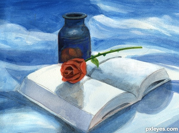 rose ,vase and book