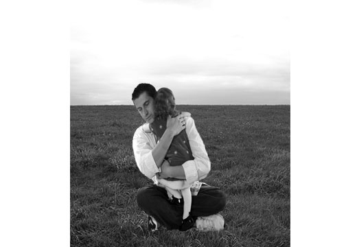 dad and daughter in field