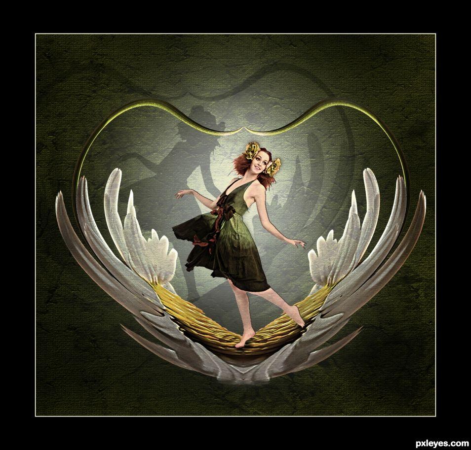 Fairy daisy heart