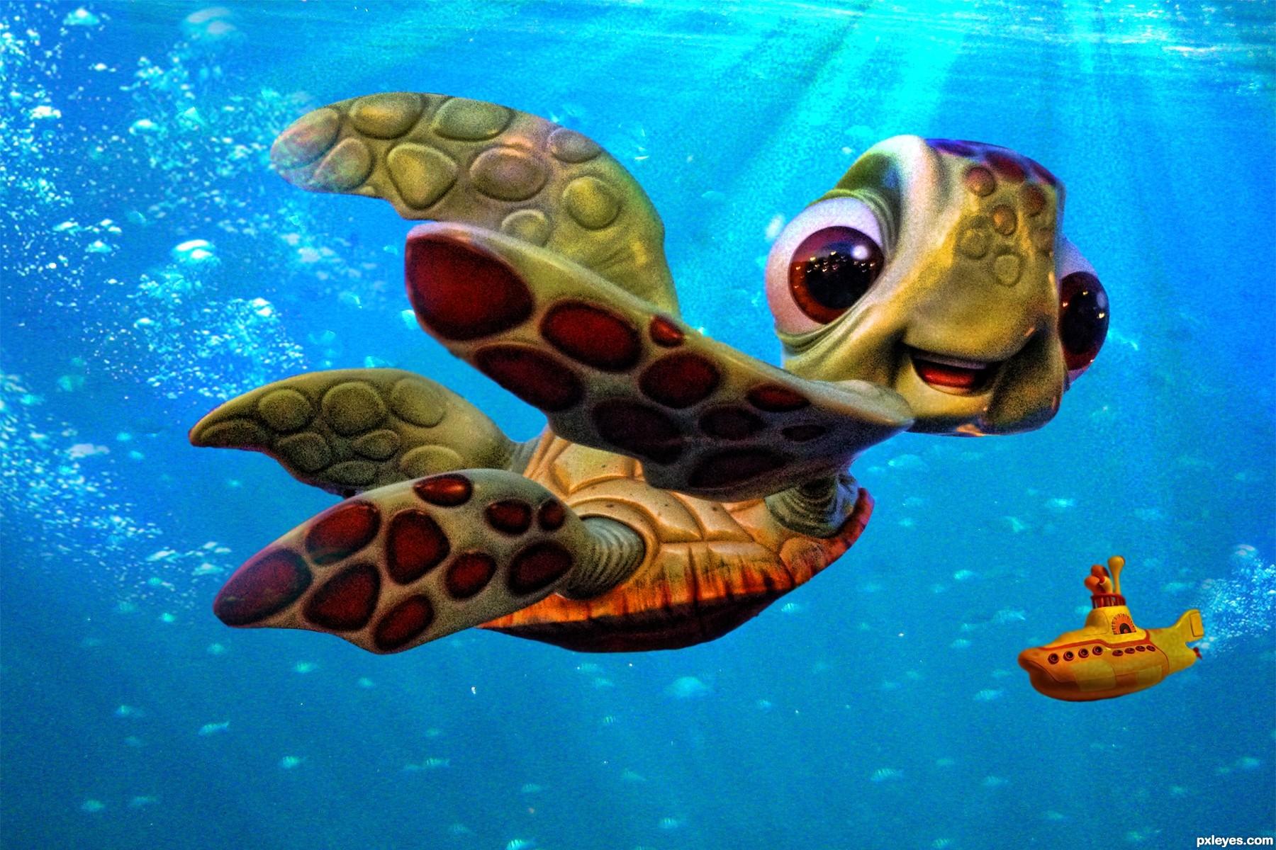 Baby turtles in ocean