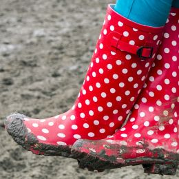 Red boots with white dots