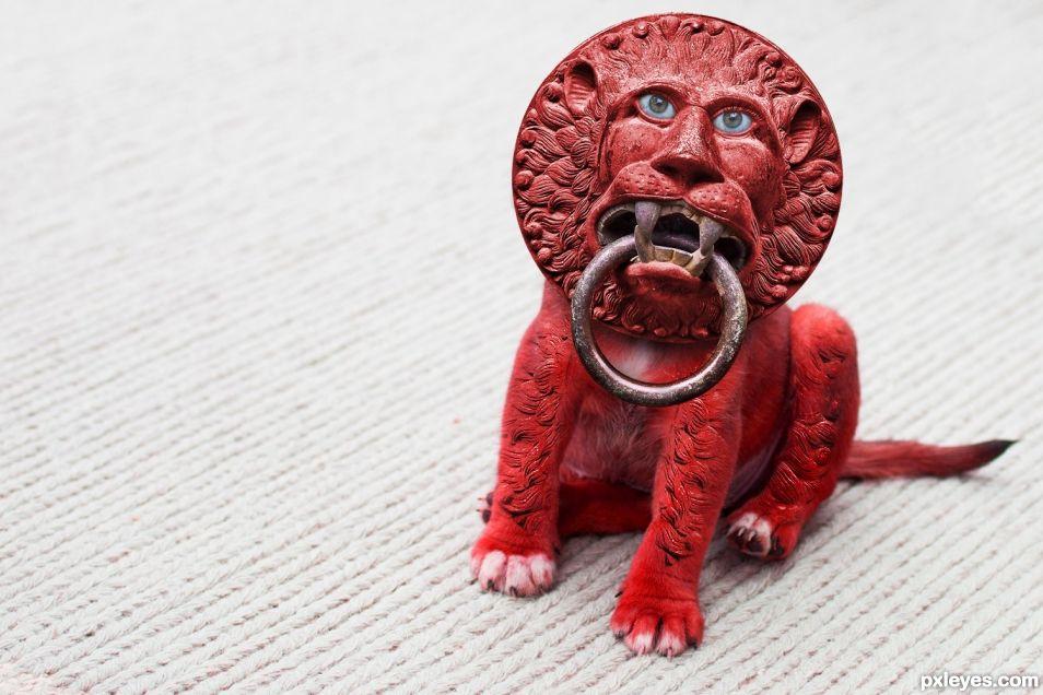 Cinnabar Lion Pup Knocker