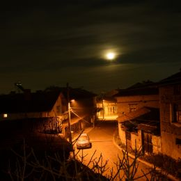 Night street in the village Picture