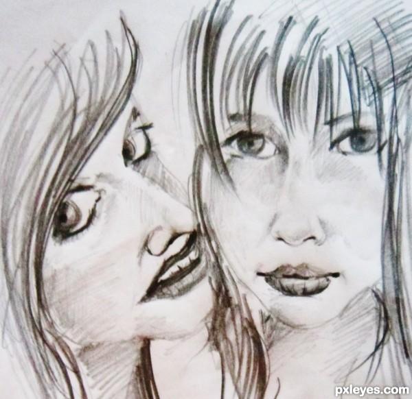 sisters sharing a secret