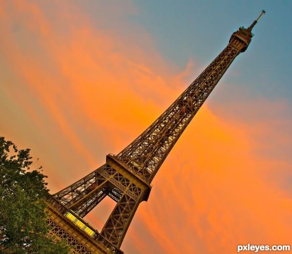 Leaning Eiffel Tower Paris France