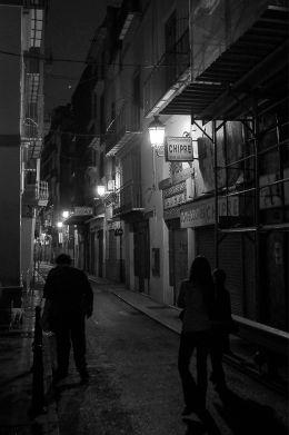 In the dark street of Valencia