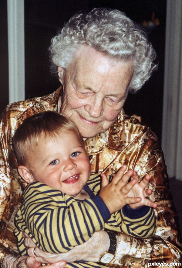 1st grandcild with his great grandma