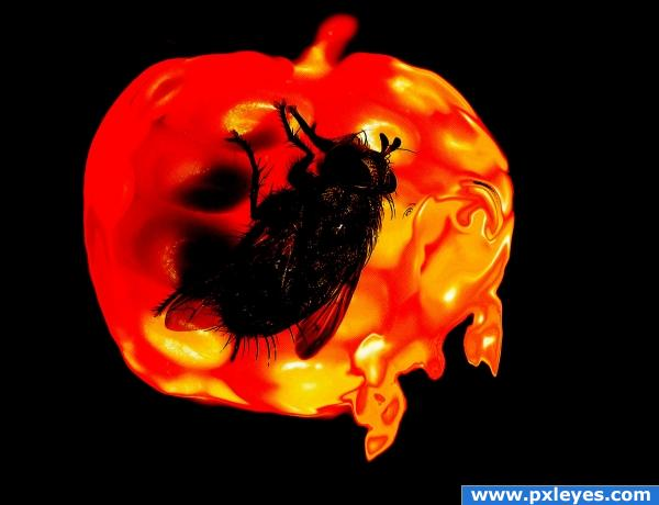 molten hot red apple