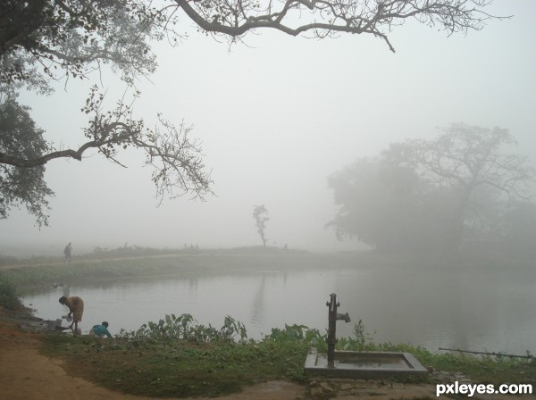 foggy village