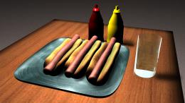 HotDogs, Sauce and Water