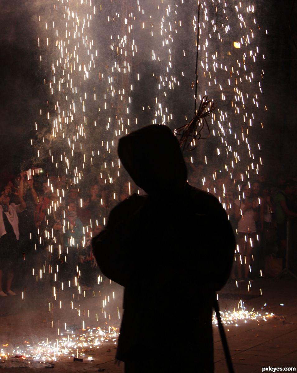Framed by fire.  St Johns Day, Barcelona