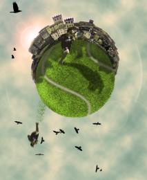 Realistic sky tenis ball