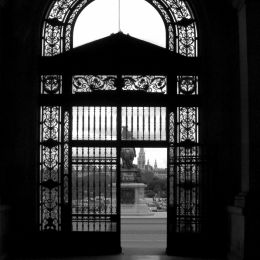 Gate in black and white Picture