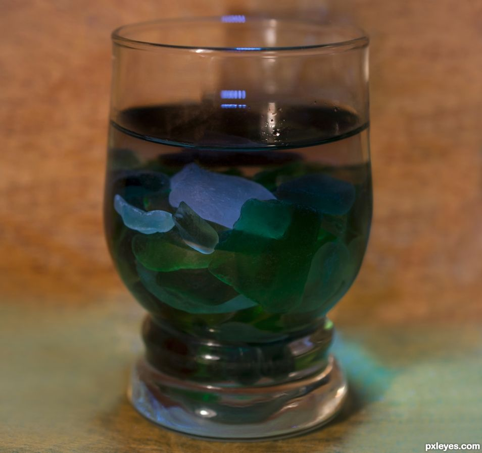 Seaglass in a glass
