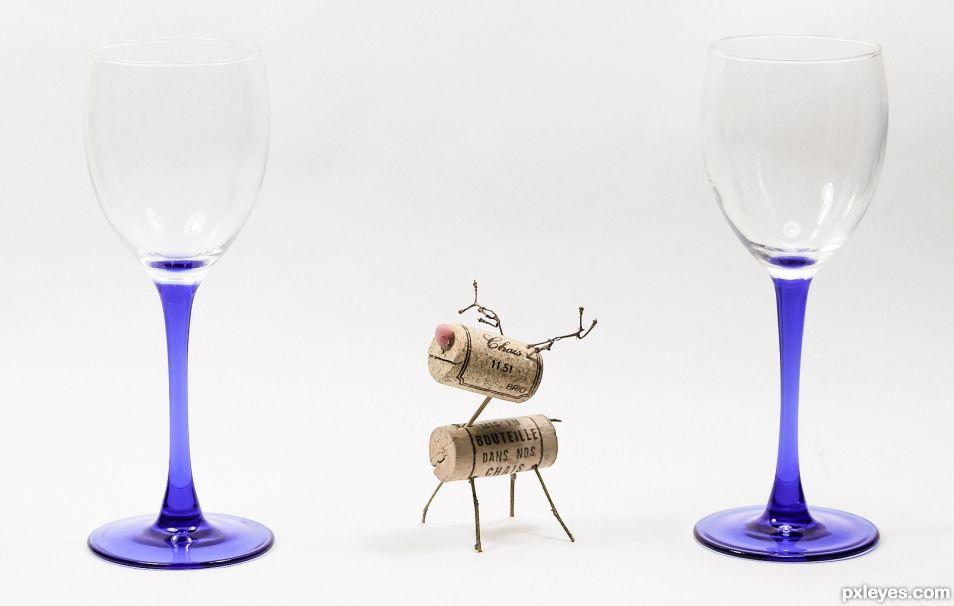 Cork Deer & Glassware