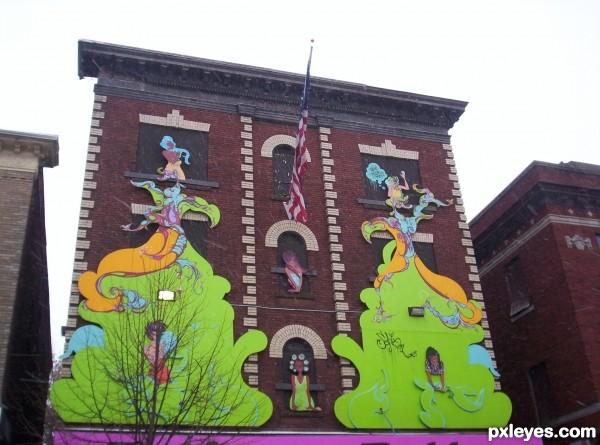 Mural on street